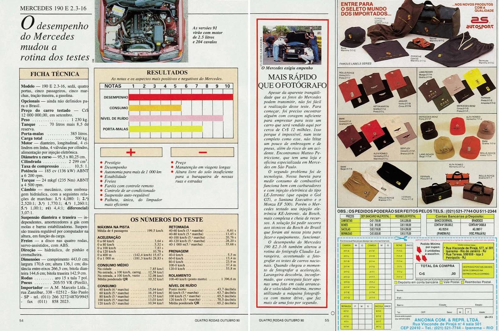 (W201): Avaliação Revista Quatro Rodas - outubro de 1990 - 190E 2.3 363%252C055%252C31%252C10%252CTE
