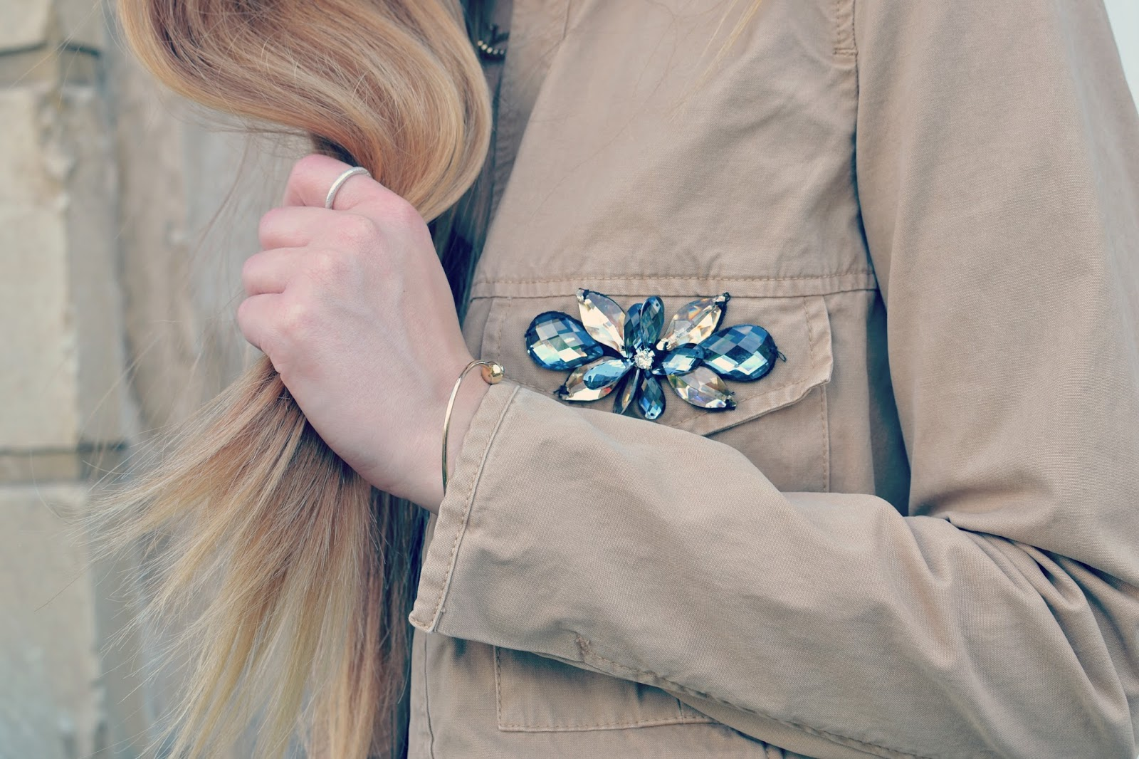 zara jacket jewelled detail long ombre hair daniella draper rings