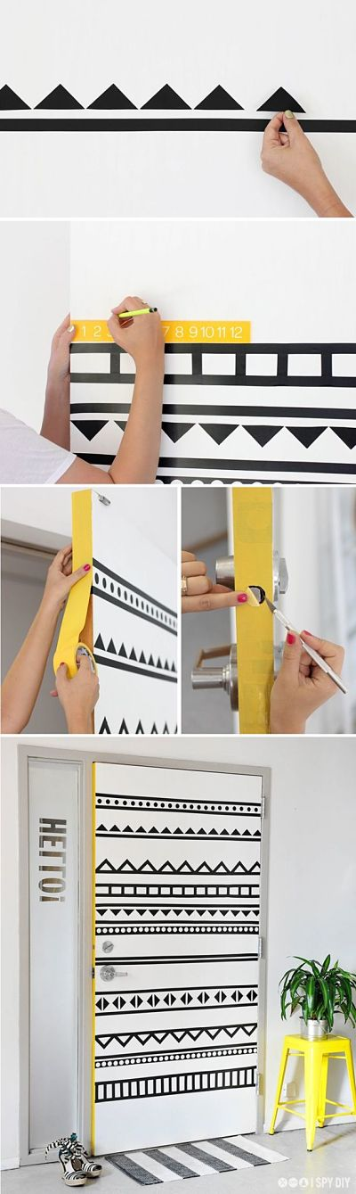 Pared decorada con washi tape