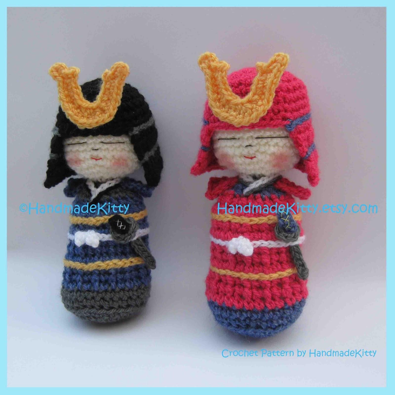 Onigiri Couple Amigurumi Free Crochet Pattern : HandmadeKitty: Samurai Kokeshi Amigurumi PDF Crochet ...