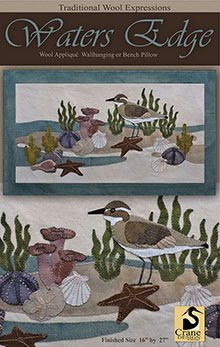 "Waters Edge Wool Applique Wallhanging 16"" x 27"""