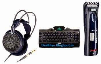 Audio Technica Headphone ATH-AD300 Rs. 2689, Logitech G19 Gaming Keyboard Rs. 7396, Babyliss Trimmer E696E Rs. 1675