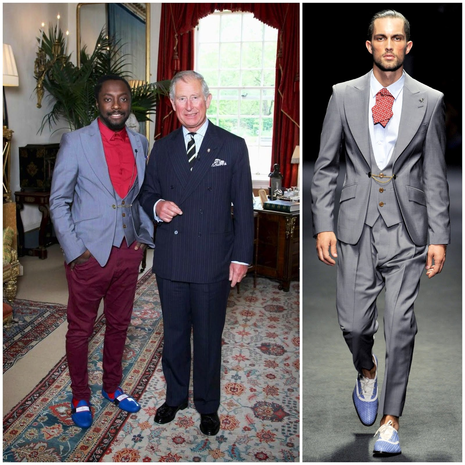 00o00 menswear london blog fashion style will.i.am buckingham palace meeting Prince Charles in Vivienne Westwood blazer waistcoat melissa shoes