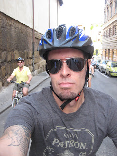 Bike riding through Rome.