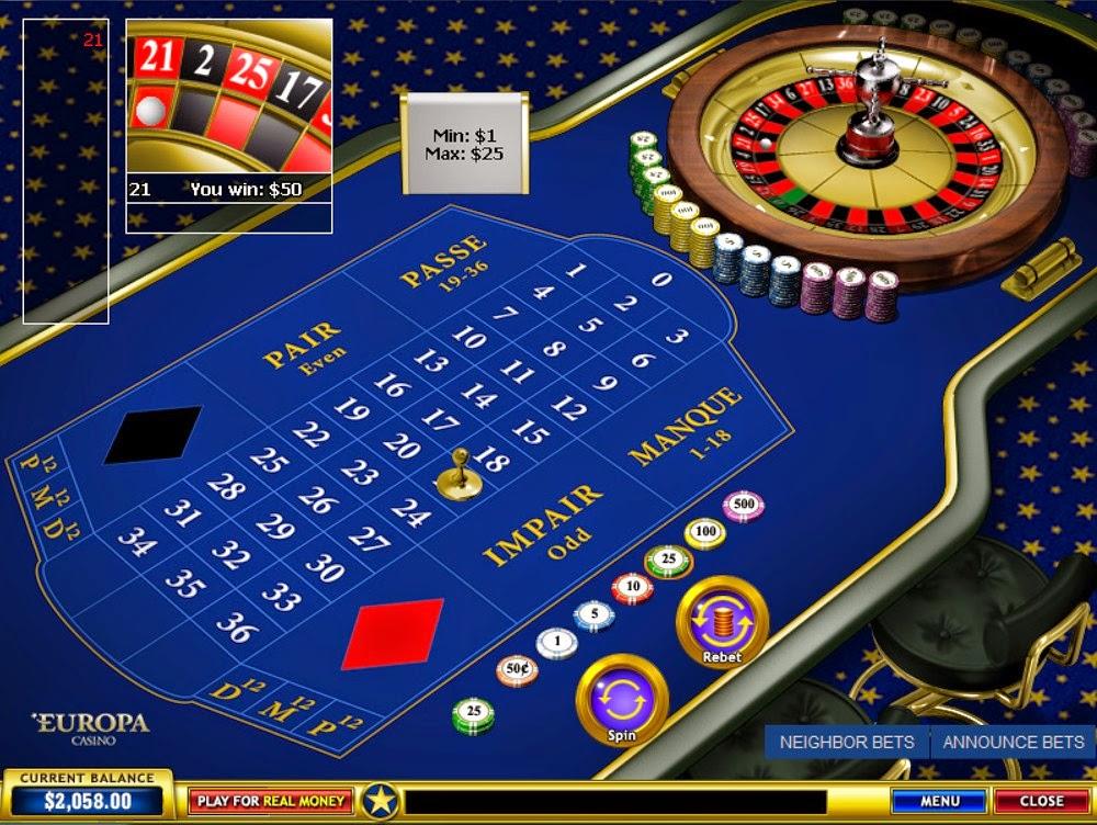Europa Casino Roulette Screen