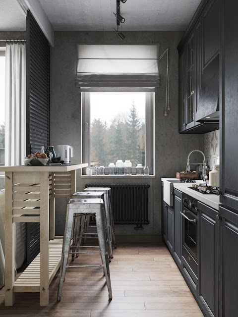 black and white small kitchen design and putting brown color of dinning table and flooring