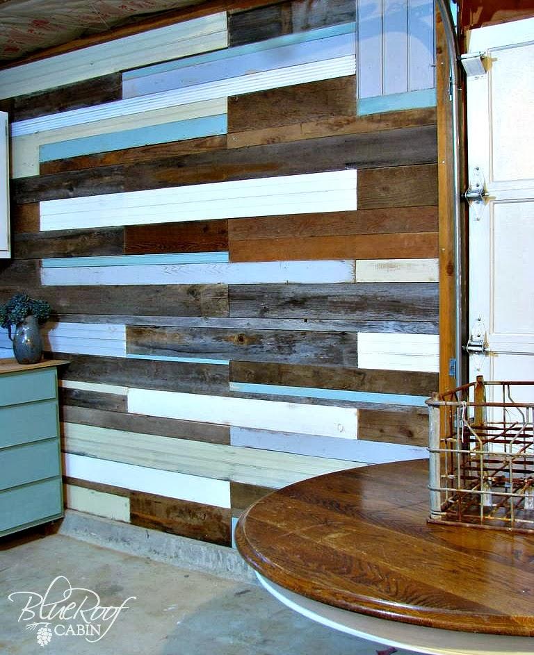 blue roof cabin diy plank wall. Black Bedroom Furniture Sets. Home Design Ideas