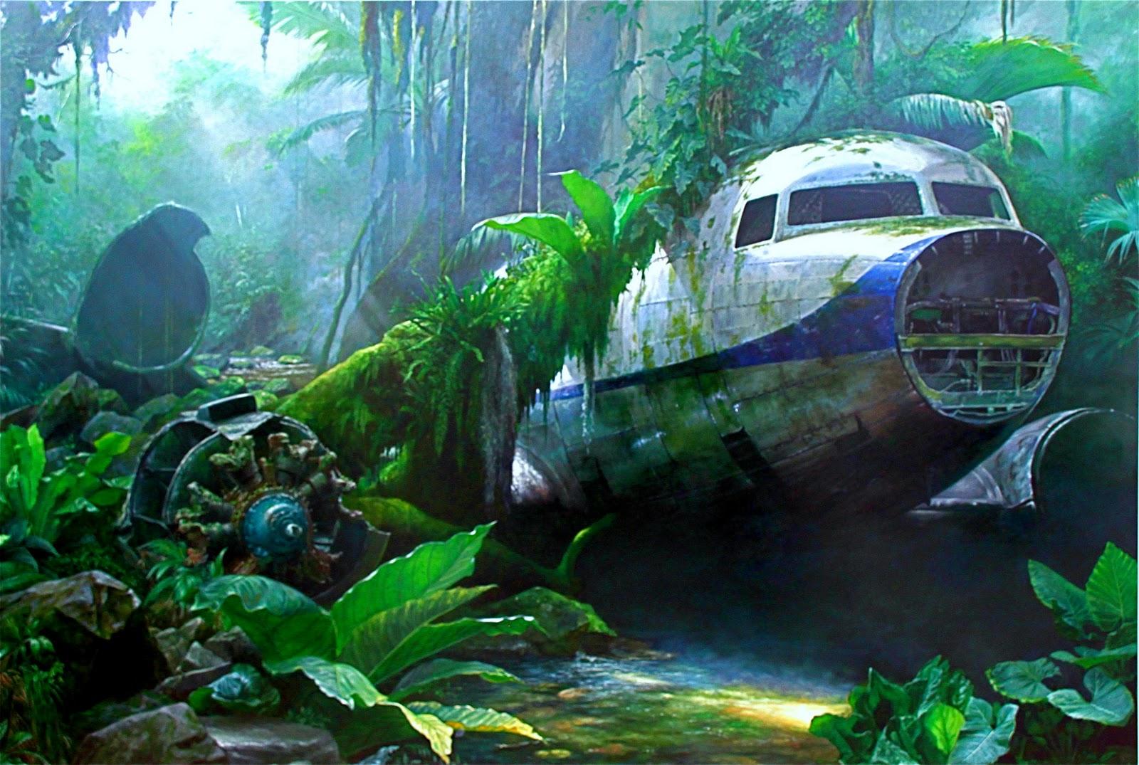 Cartoon plane crash in water