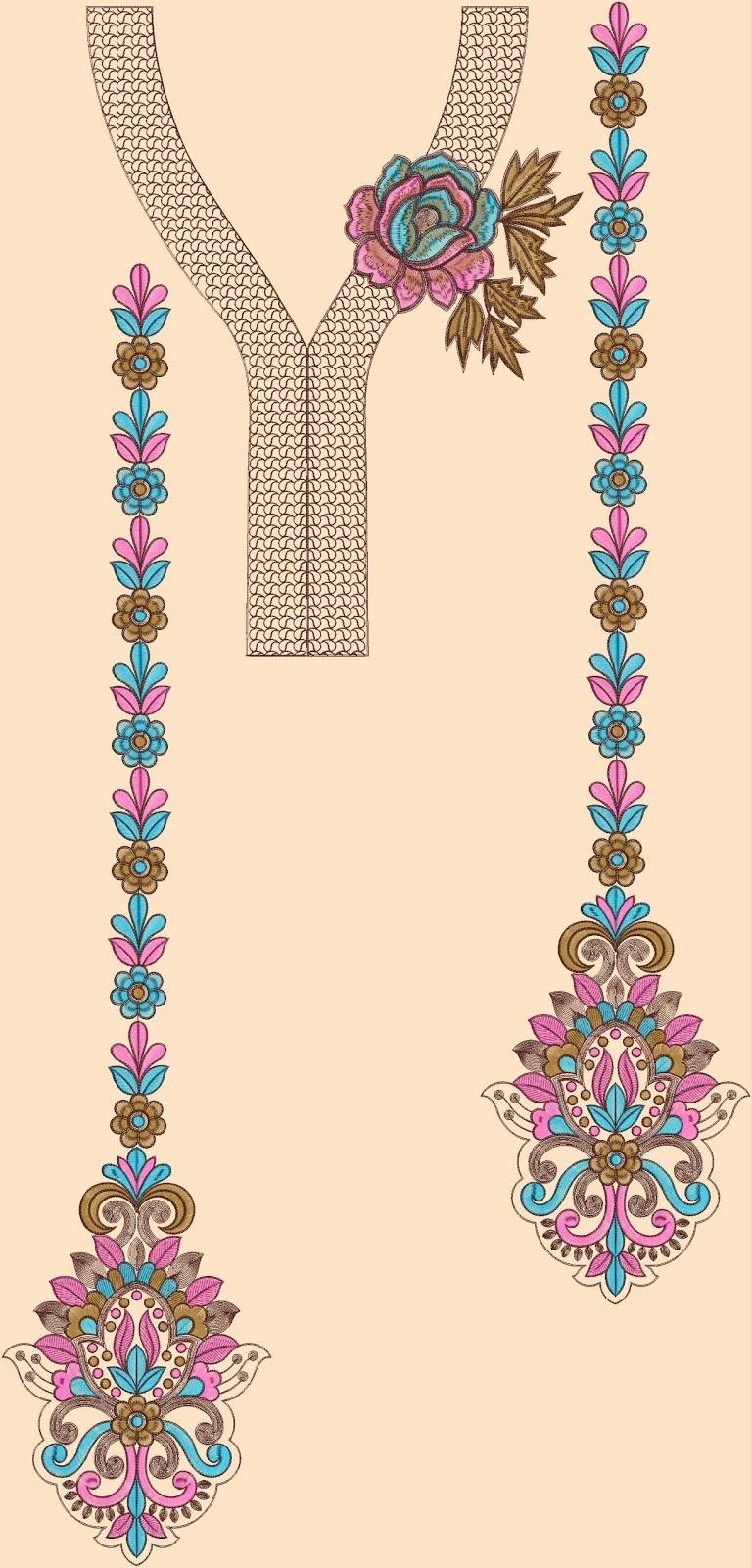 Embroidery designs kurtis neck makaroka