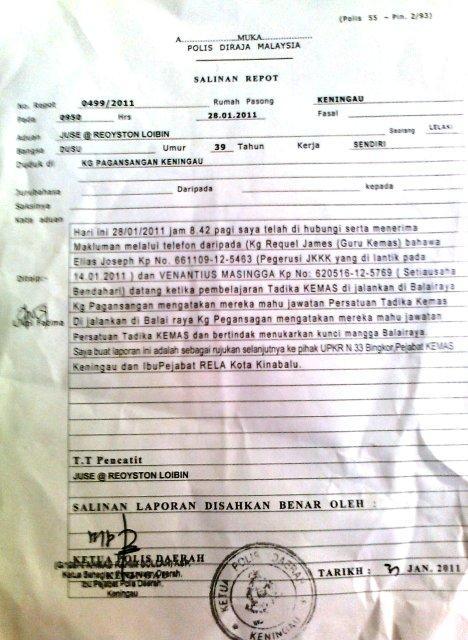 GILA…Satu lagi laporan polis terhadap PRD Keningau yang meletakkan