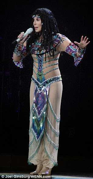 Cher performing in her Cleopatra-style 'Dressed To Kill Tour' outfit