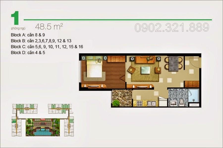 Căn hộ Lexington 1 phòng ngủ 48.5 m2