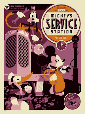 """Mickey's Service Station"" Disney Screen Print by Tom Whalen"