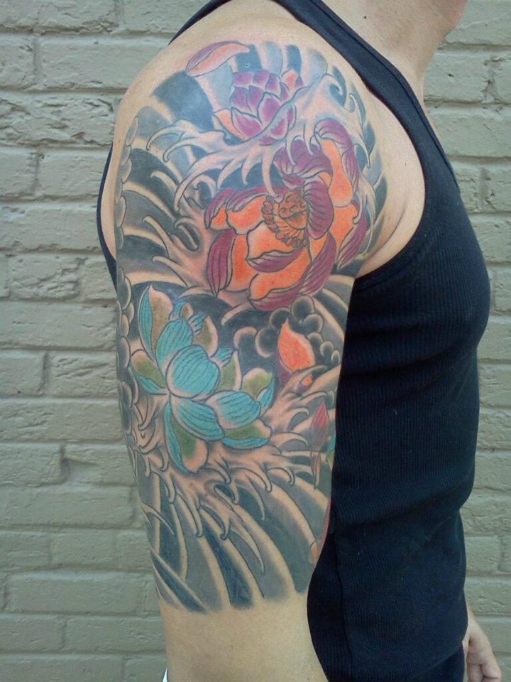 Japanese half sleeve upper arm kim wells tattooer for Upper arm half sleeve tattoos