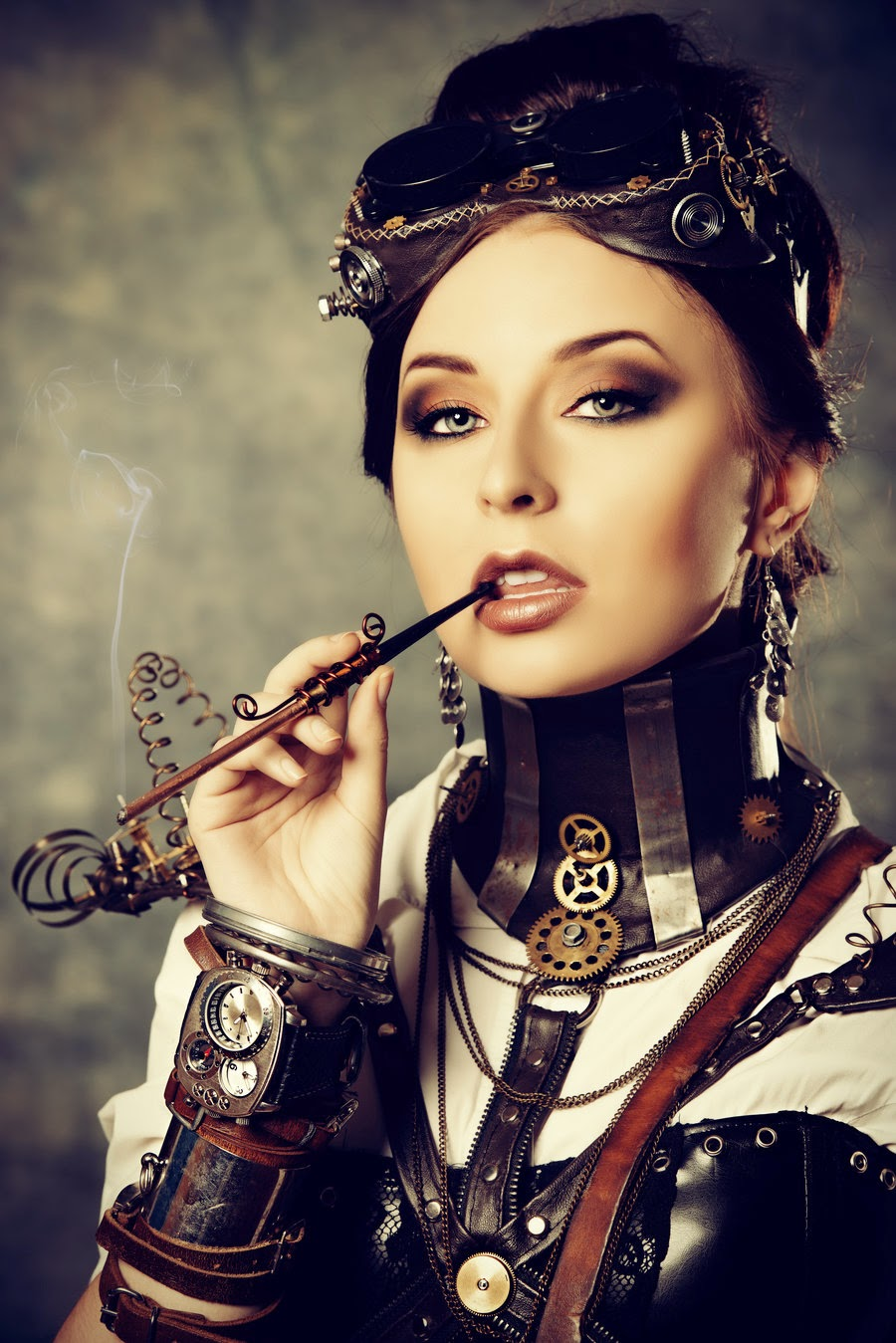 steampunk woman cigarette pipe goggle wrist cuff
