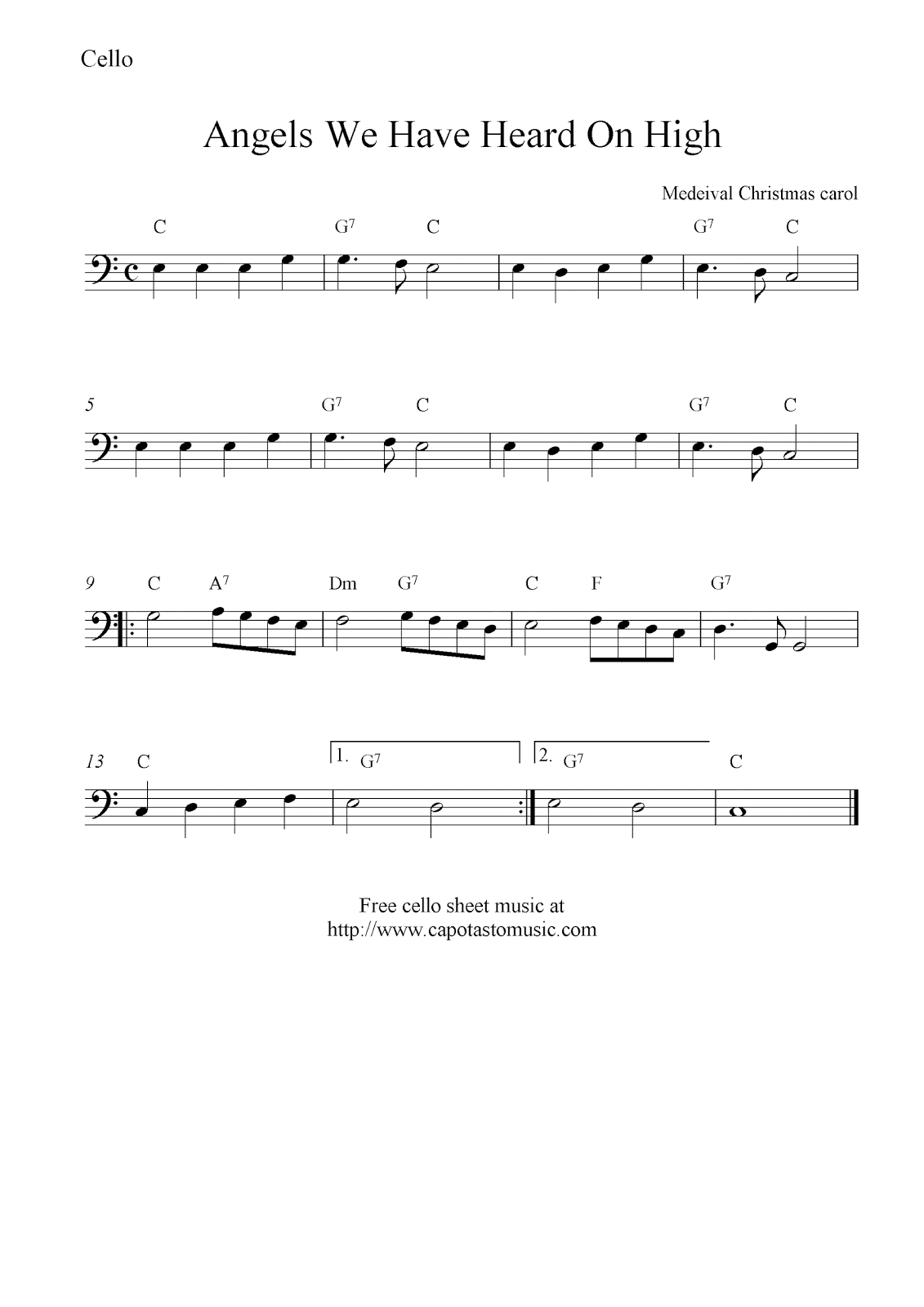 Angels We Have Heard On High, free Christmas cello sheet music notes