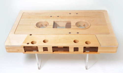 Wooden cassette tape table above bottom view
