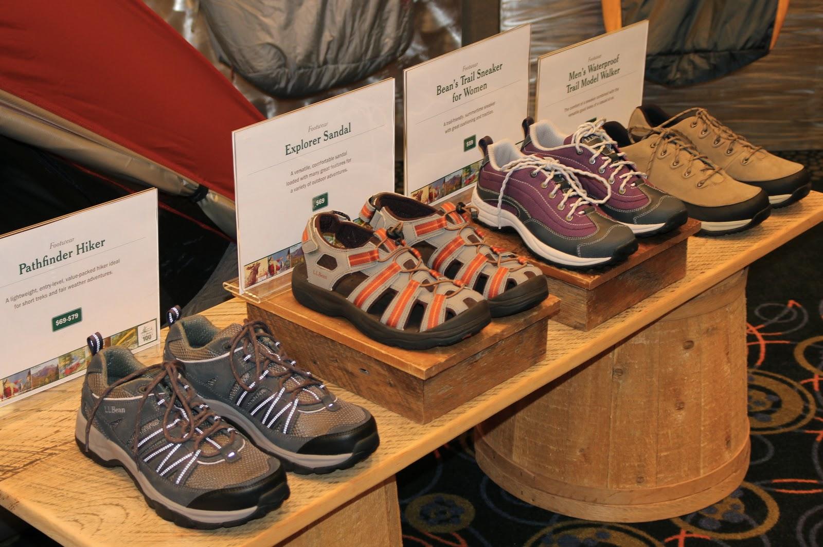 Assorted outdoor ready footwear-lightweight and supportive=-Pathfinder  Hiker $69-$79, Explorer Sandal $69, Trail Sneaker $59 women's.