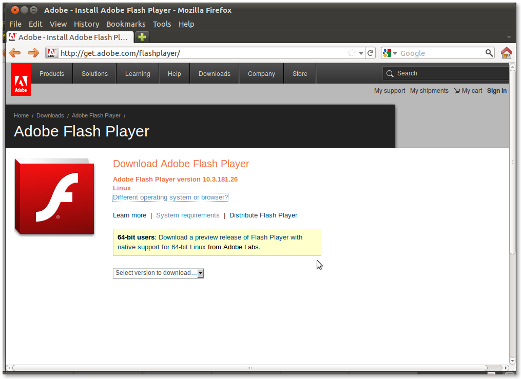 how to download flash player in ubuntu