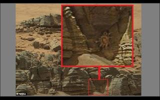 """Sempre que novas imagens de Marte são divulgadas, alguém consegue enxergar nelas alguma figura misteriosa. Teóricos da conspiração dizem que já viram pirâmides, rostos e até um abrigo militar nas fotos do planeta vermelho. Agora, eles dizem ter visto um """"caranguejo"""", parecido com o monstro que agarrava o rosto de suas vítimas no filme Alien, o Oitavo Passageiro."""