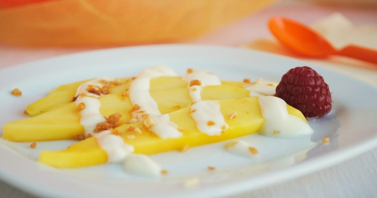 Cocinando con neus mango con yogur al chocolate blanco y for Cocinar con mango