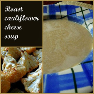 Roast cauliflower cheese soup