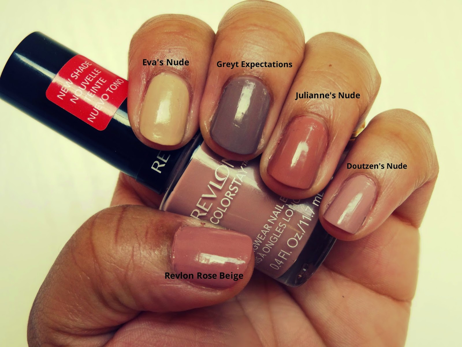 swatches of Top 5 Nude Polishes for Fall 2014