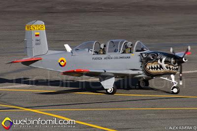 Avión de instrucción T-34 Mentor de la Fuerza Aérea Colombiana