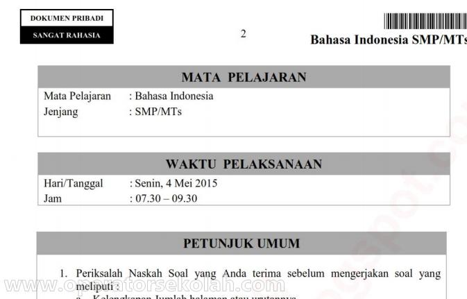 BOCORAN Soal dan Pembahasan UN SMP/MTs 2015 Bahasa Indonesia