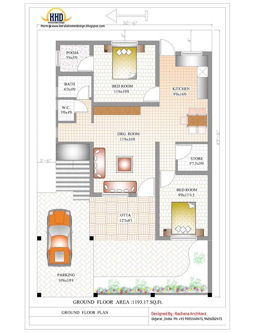 Contemporary india house plan 2185 sq ft indian home for Indian home map plan