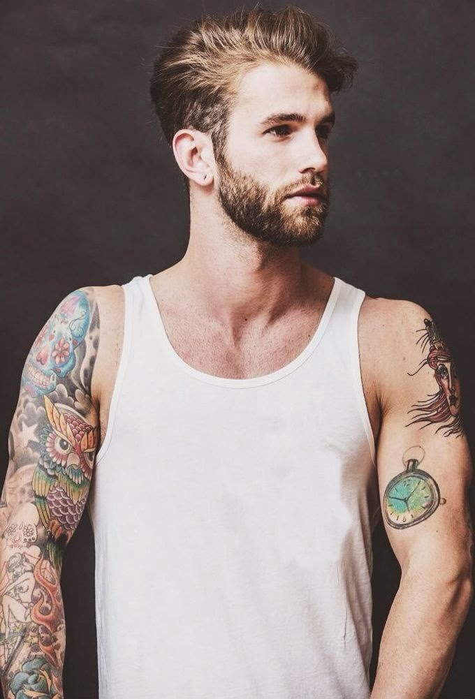 """Timespan."" Muscle sleeve. Tattoos, body art."