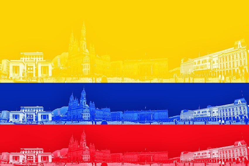 Bandera colombiana. Bogotá DC, Plaza de Bolívar       Colombian flag. Bogotá CD, Bolívar Plaza