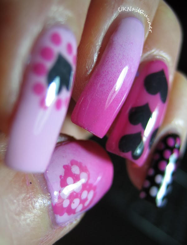 Models Own Hypergel Pink Veneer and Cerise Shine with FakeTattoos heart nail tattoo