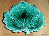 Wedgwood Barlaston Majolica Green Leaf Dish