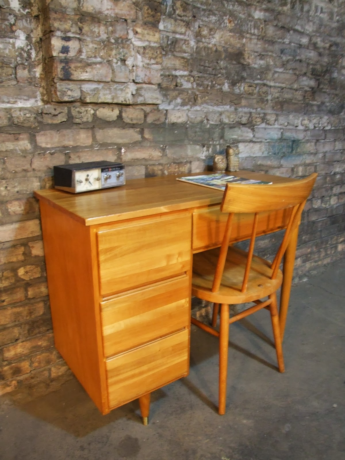 Broyhill Furniture Prices Mid Century Chicago: Small Scandinavian Desk & Chair