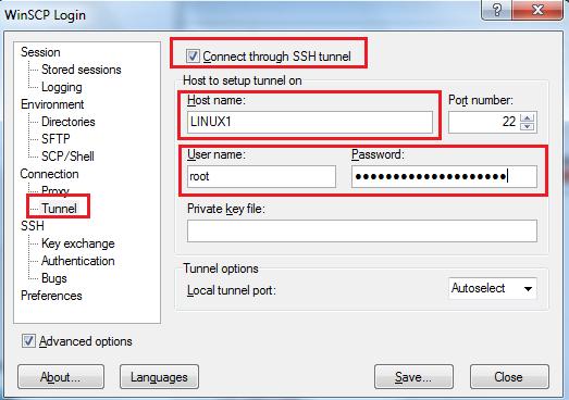 Linux: Túneles SSH con WinSCP