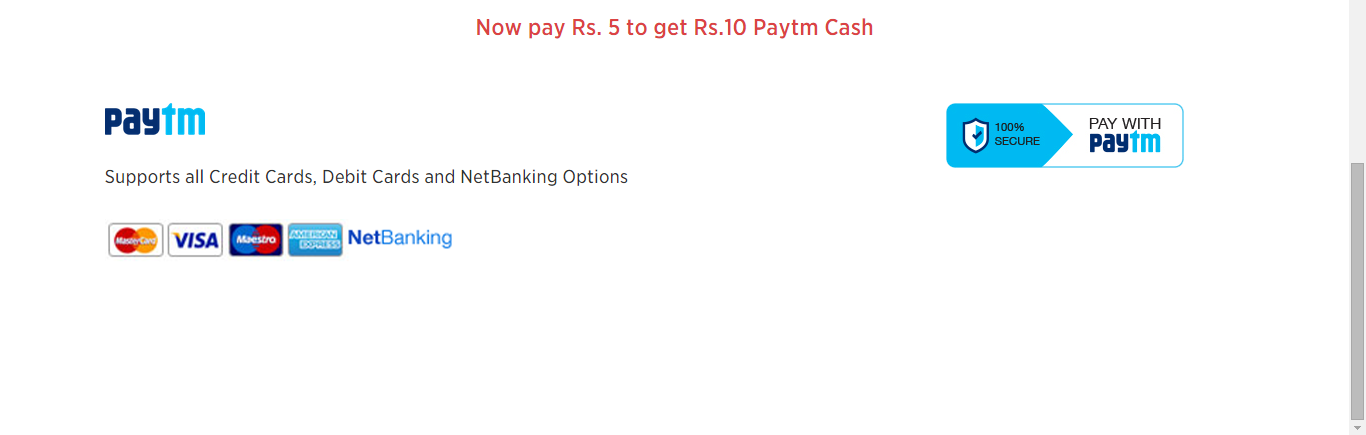 Pay Rs 5 with paytm