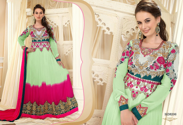 Evelyan Sharma Georgatte Floor Touch Embroidery Anarkali Suit