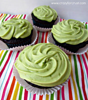 Avocado frosting on a chocolate cupcakes