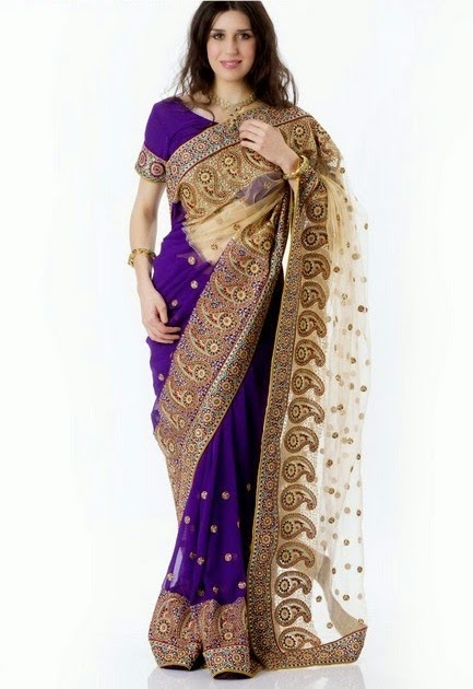 Party Wear Embroidered Saree Designs