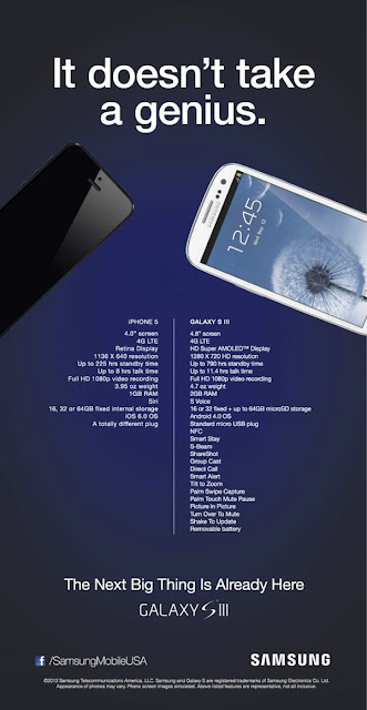 Samsung Galaxy SIII vs Apple New iPhone5 Compassion by Samsung Advertisement