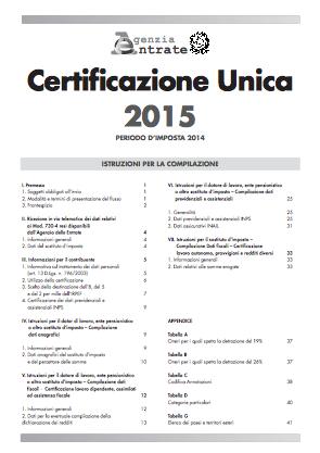 Aggiornamento software di compilazione Certificazione Unica 2015 1.1.0 per Mac, Windows e Linux