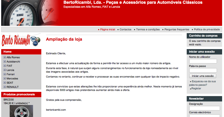 Portal auto berto ricambi for Galp oficina online