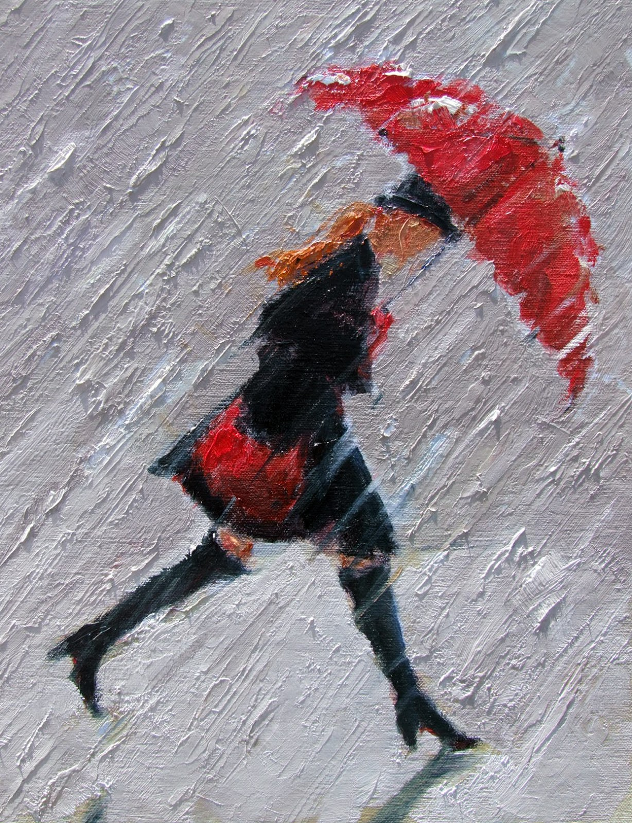 Little girl with red umbrella walking in the rain hot for Painting red umbrella