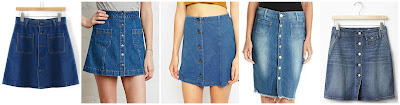 Romwe Buttons Denim Skirt with Pockets $15.00 (regular $28.13)  Forever 21 Button Front Denim Skirt $17.90  ASOS Denim Look Button Through A-Line Mini Skirt $45.00 also in petite and tall  Democracy 22.5 Inch Frayed Button Front Denim Skirt $49.41 (regular $59.00)  Gap 1969 Denim Skirt Button Front $49.95 check for a daily online code for a lower price