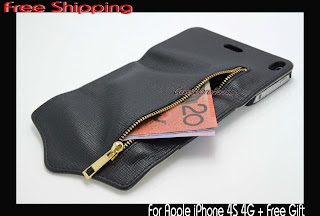 Luxury Leather Zipper Wallet Cards Flip Case Case Stand for iPhone 4S 4G +SP+Pen