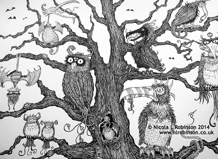Tree of monster birds illustration pen and ink - © Nicola L Robinson 2014 www.nlrobinson.co.uk