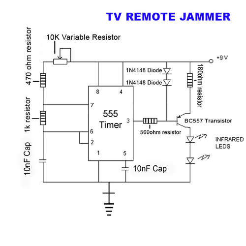 Circuito Jammer : Circuit diagram tv remote jammer