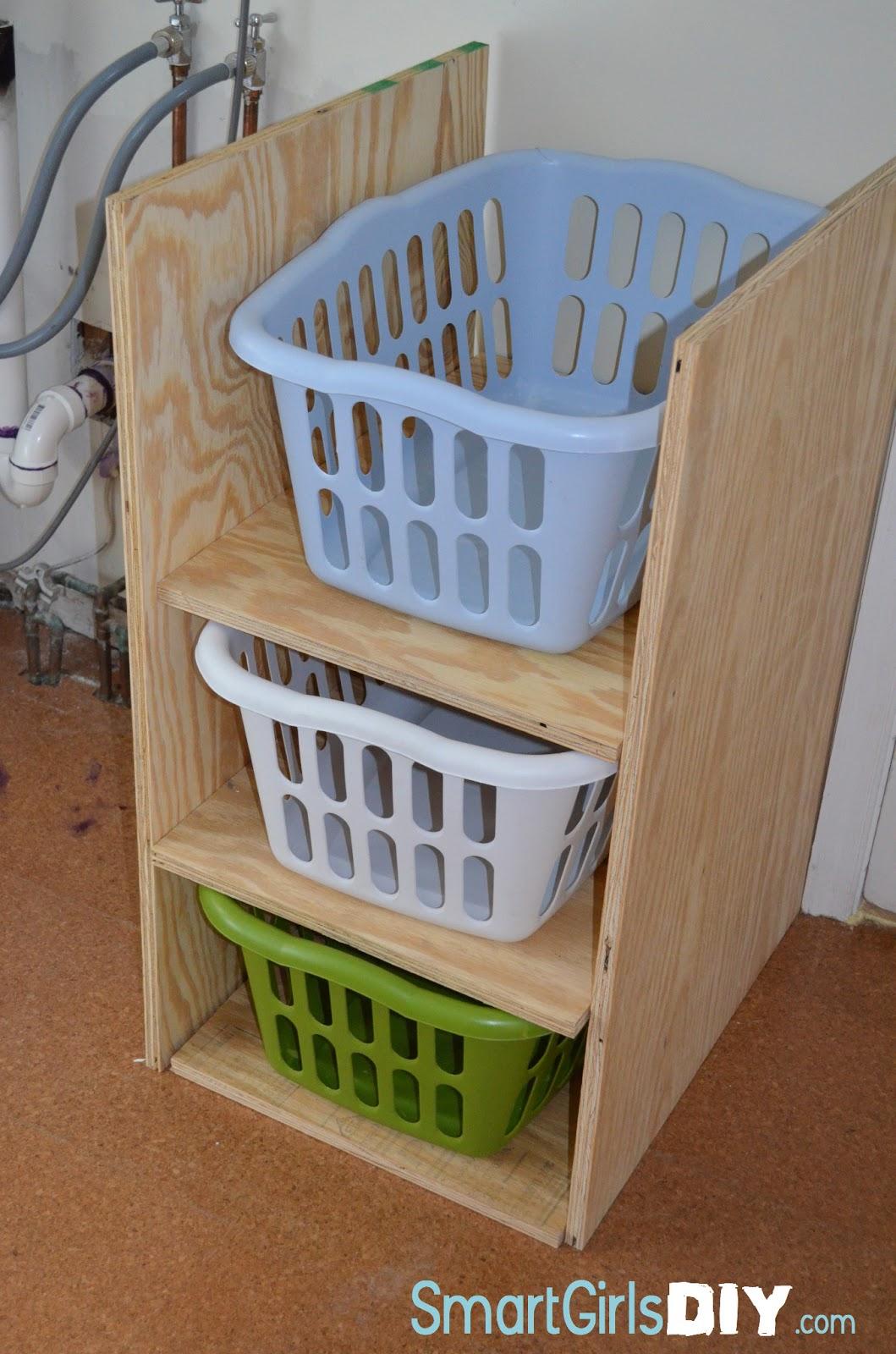 Smart Girls DIY: Laundry Room (Part 4): Laundry Basket Shelf with ...