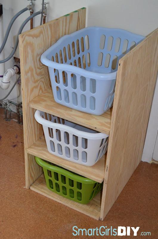 DIY Laundry Basket Shelves